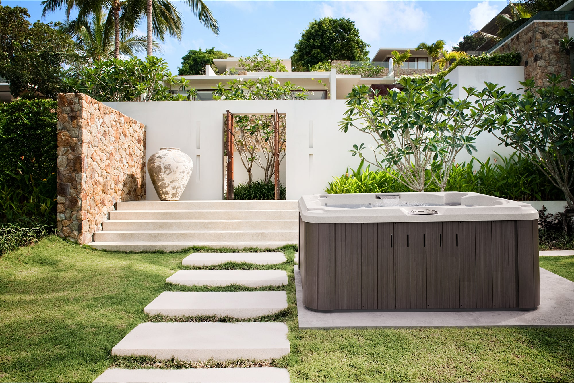 Jacuzzi Hot Tub Installation Outdoors