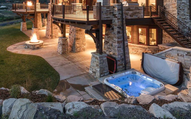 sundance spas backyard luxurious installation in San Antonio